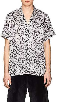 Stampd Men's Leopard Print Charmeuse Camp Shirt