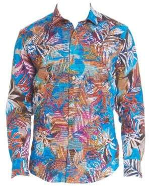 Robert Graham Men's Classic-Fit Multicolored Linen Button-Down Shirt - Blue Multi - Size Large