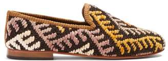 Artemis Design Shoes - Chevron Patterned Woven Kilim And Leather Loafers - Mens - Multi