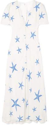 RIXO - Jade Printed Crepe De Chine Midi Dress - White