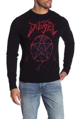 Diesel Logo Print Snowflake Sweater