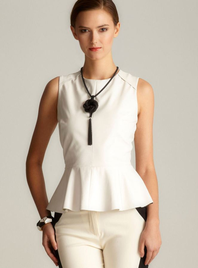 Walter Faux Leather Peplum In White