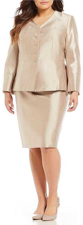 John Plus 2 Piece Shantung Skirt Suit