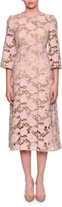 Dolce & Gabbana Elbow-Sleeve Macrame Lace Dress