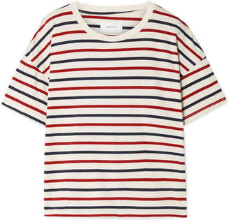 Current/Elliott The Roadie Distressed Striped Cotton-jersey T-shirt - Cream