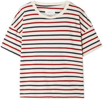 Current/Elliott - The Roadie Distressed Striped Cotton-jersey T-shirt - Cream