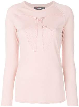 Jo No Fui butterfly embroidered longsleeved T-shirt