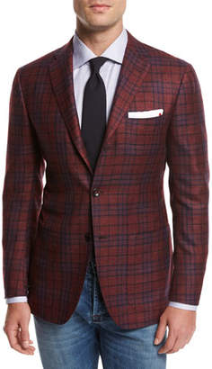 Kiton Plaid Cashmere-Silk-Linen Sport Coat, Red