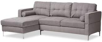 Baxton Studio Mireille Modern and Contemporary Dark Grey Fabric Upholstered Sectional Sofa