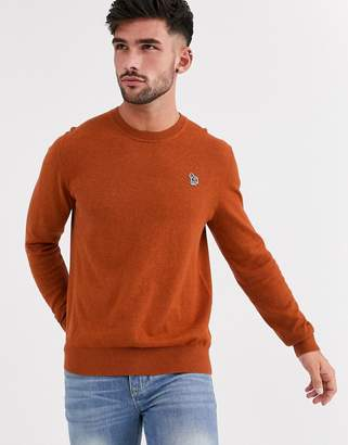 Paul Smith zebra logo crew neck knitted merino mix jumper in burnt orange