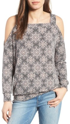 Women's Bobeau Cold Shoulder Print Sweatshirt $49 thestylecure.com