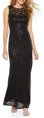 BLU SAGE Blu Sage Sleeveless Sequin Lace Evening Gown