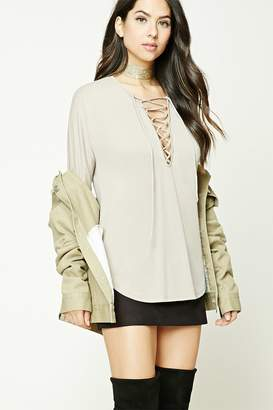 Forever 21 Lace-Up Dolphin Hem Top