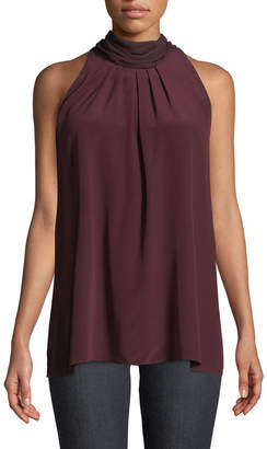 Diane von Furstenberg Sleeveless High-Neck Silk Blouse