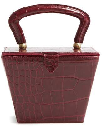 Staud - Sadie Mini Crocodile Effect Leather Box Bag - Womens - Burgundy