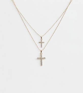 Aldo Gradonia layering cross necklace in gold