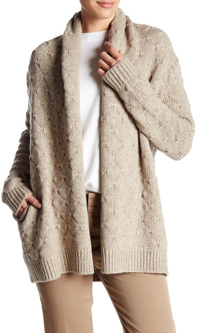 VINCE. Wool Blend Tuck Stitched Cardigan