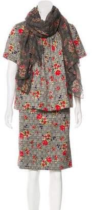 Oscar de la Renta Wool Embroidered Skirt Set