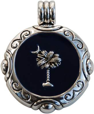 Best Shiny Silver Round Palmetto Moon Slide with Dark Blue Background - South Carolina Jewelry Design