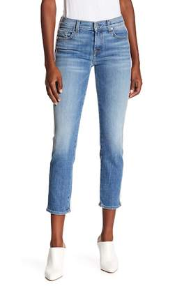 7 For All Mankind Roxanne Faux Suede Stripe Ankle Skinny Jeans (Vintage Blue Dunes)