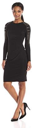 Marina Women's Long Sleeve Dress with Hot Fix Detail at Shoulder and Side Pleats $28.74 thestylecure.com