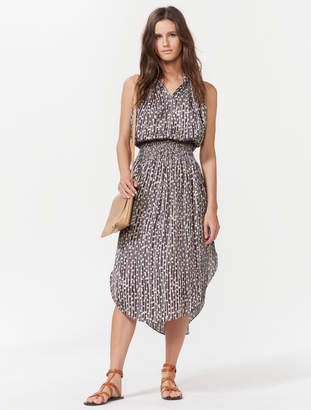 Halston Sleeveless Smocked Waist Midi Dress