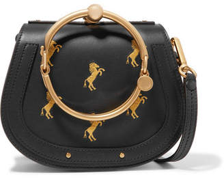 Chloé Nile Bracelet Small Embroidered Leather And Suede Shoulder Bag - Navy