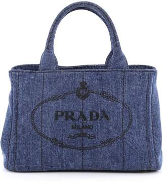 Prada Canapa Convertible Tote Embossed Logo Mini Blue