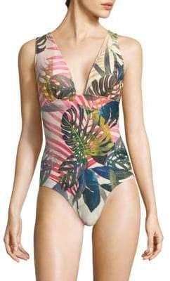 Fuzzi Swim Jungle Petal Print One-Piece Swimsuit