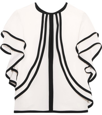 Elie Saab - Ruffled Silk-georgette Top - Off-white $1,450 thestylecure.com