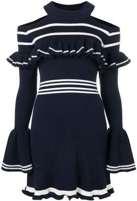 Self-Portrait cold-shoulder ribbed knit dress