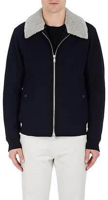 Theory MEN'S VIRGIN WOOL-BLEND MELTON BOMBER JACKET WITH FAUX-SHEARLING COLLAR