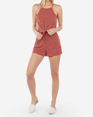 Express Printed Tie Front Flounce Romper