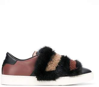 Santoni mink fur detail sneakers