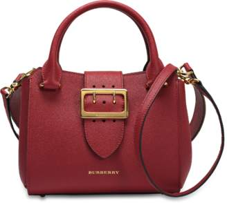 Burberry Small Buckle Tote Bag in Parade Red Grained Calfskin