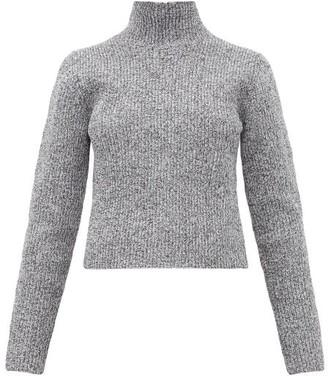 Tibi Zip Through High Neck Ribbed Sweater - Womens - Grey