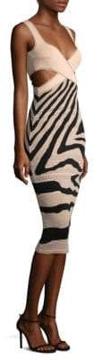 Roberto Cavalli Cutout Zebra Sheath Dress