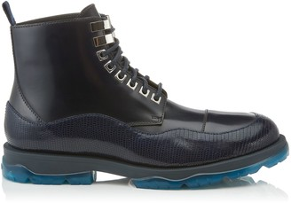 Jimmy Choo BALDWYN Navy Mix Lizard Print and Shiny Calf Leather Boots