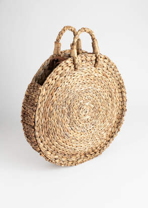 And other stories Woven Straw Circle Bag
