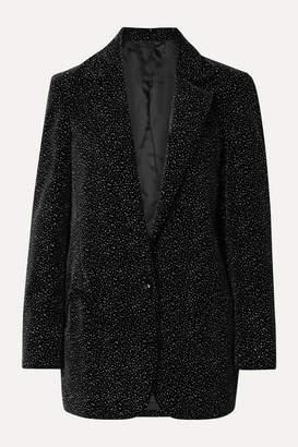 BLAZÉ MILANO Cassiana Weekend Oversized Glittered Velvet Blazer - Black