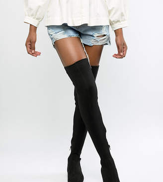 Asos DESIGN Kelby flat elastic thigh high boots