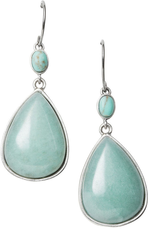 Fossil Earrings, Reconstituted Turquoise and Dyed Jade Large Double Drop Earrings