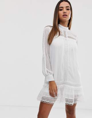Missguided Exclusive shift dress with high neck and crochet trim in white