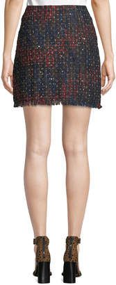 Line And Dot Anya Faux-Wrap Tweed & Sequin Skirt