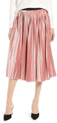 Halogen Velvet Pleated Midi Skirt