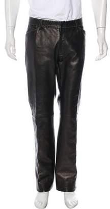 Dolce & Gabbana Leather Contrast Stitch Pants