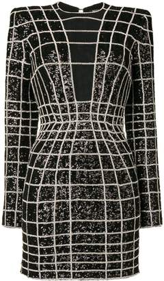 Balmain crystal grid patterned bodycon dress