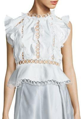 Zimmermann Winsome Cotton Lace Inset Ruffle Blouse $480 thestylecure.com