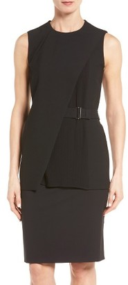 Women's Boss Iakila Plisse Overlay Belted Ponte Top $345 thestylecure.com