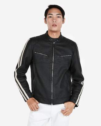 Express Minus The) Leather Stripe Sleeve Biker Jacket
